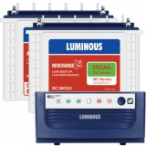 Luminous Eco Watt+1650 Square Wave Inverter & Luminous Red Charge TT18000 150AH Tall Tubular Battery